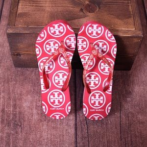 Tory Burch Red & White Wedge Flip Flop Sandals